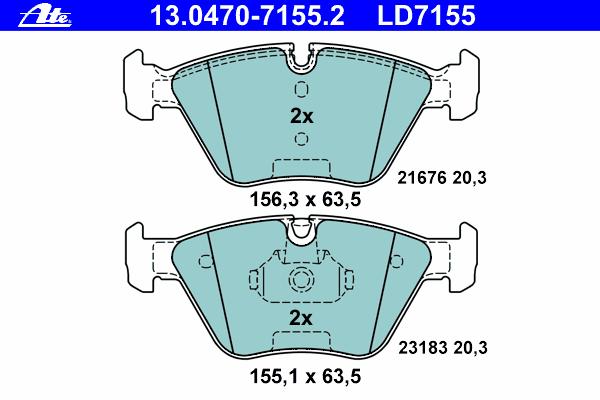 Колодки тормозные CERAMIC Ate 1304707155213047071552