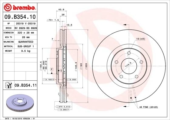 Диск тормозной Brembo 09B3541009B35410