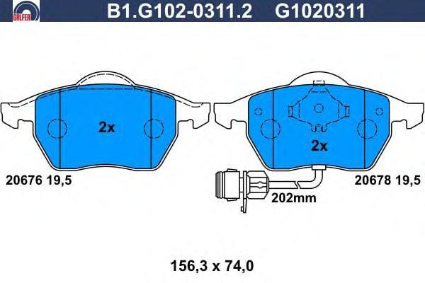 Колодки тормозные дисковые Galfer B1G10203112B1G10203112