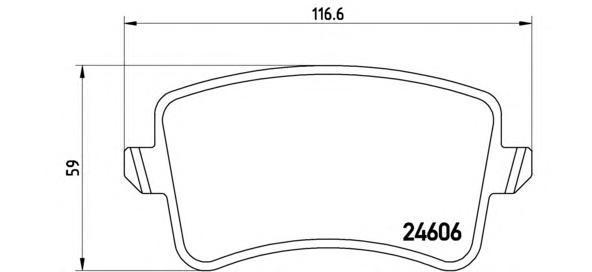 Комплект тормозных колодок Brembo, задние, комплект. P85100P85100