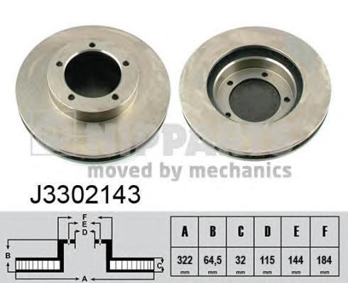 Диск тормозной передний Nipparts J3302143J3302143