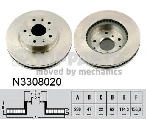 Диск тормозной Nipparts N3308020 комплект 2 штN3308020