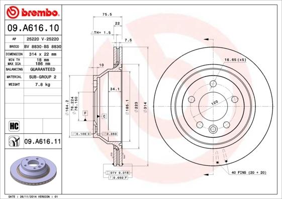 Диск тормозной задний вентилируемый Brembo 09A61610 комплект 2 шт09A61610