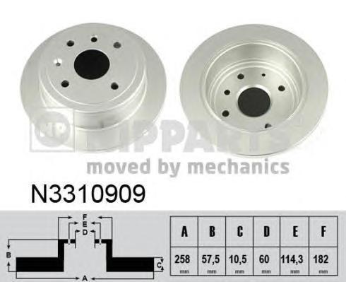 Диск тормозной задний Nipparts N3310909 комплект 2 штN3310909