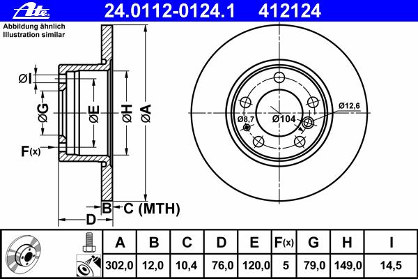 Диск тормозной Ate 2401120124124011201241