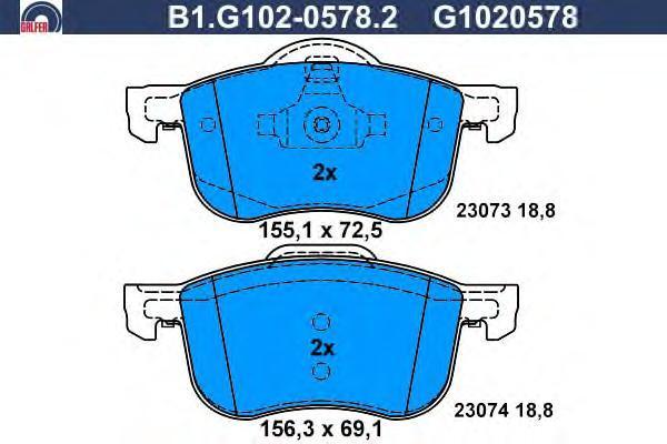 Колодки тормозные дисковые Galfer B1G10205782B1G10205782