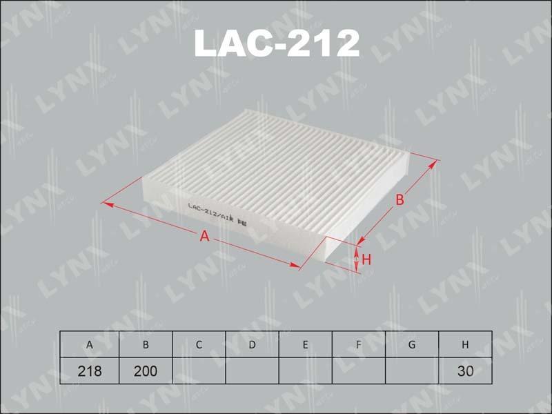 Фильтр салона Lynx LAC212 фильтр воздушный lynx la113