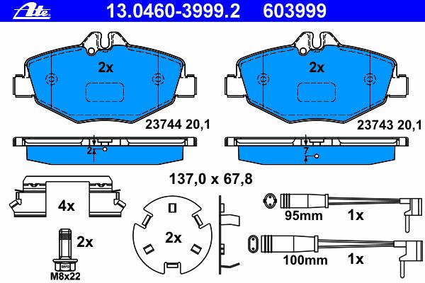 Колодки тормозные дисковые Ate 1304603999213046039992