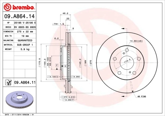 Диск тормозной Brembo 09A86414 комплект 2 шт09A86414