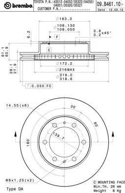 Диск тормозной передний Brembo 09B46110 комплект 2 шт09B46110