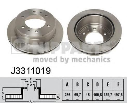 Диск тормозной задний вентилируемый Nipparts J3311019 комплект 2 штJ3311019