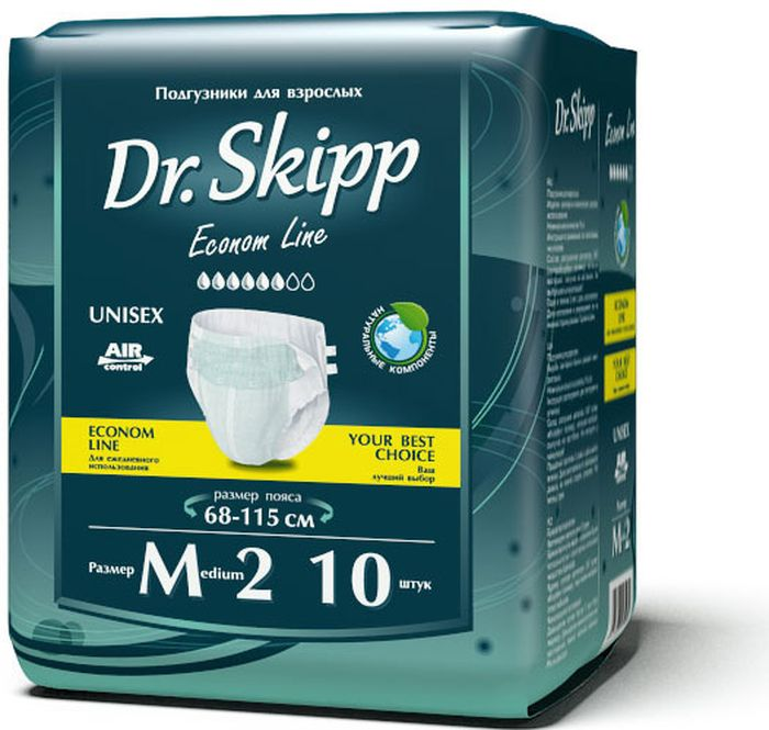 Dr. Skipp Подгузники для взрослых Econom Line размер М-2 10 шт7028Подгузники для взрослых Dr.Skipp Econom Line, отличаются удобной и экономичной упаковкой, они сделаны с целью, обеспечить надежную защиту и комфорт людям со средней или высокой степенью недержания, а также имеющим трудности с передвижением или посещением туалета.• Комфортно прилегают к телу за счет расширенного эластичного пояса.• Надежно удерживают влагу внутри благодаря дополнительной резинке для прилегания защитного барьера к ногам.• Понятный и точный индикатор наполнения.• Приятный и естественный внешний вид подгузника на теле.• Удобная эргономичная упаковка.• Выгодно для кошелька – сочетание низкой цены и количества подгузников в упаковке делают приобретение подгузников Dr.Skipp выгодным для семейного бюджета.Обхват пояса: 68-115 см.