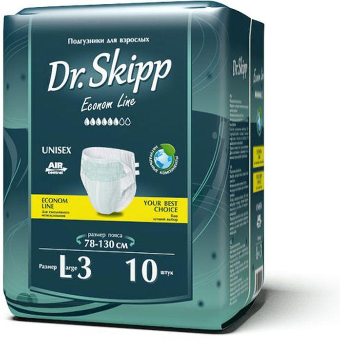 Dr. Skipp Подгузники для взрослых Econom Line размер L-3 10 шт7029Подгузники для взрослых Dr.Skipp Econom Line, отличаются удобной и экономичной упаковкой, они сделаны с целью, обеспечить надежную защиту и комфорт людям со средней или высокой степенью недержания, а также имеющим трудности с передвижением или посещением туалета.• Комфортно прилегают к телу за счет расширенного эластичного пояса.• Надежно удерживают влагу внутри благодаря дополнительной резинке для прилегания защитного барьера к ногам.• Понятный и точный индикатор наполнения.• Приятный и естественный внешний вид подгузника на теле.• Удобная эргономичная упаковка.• Выгодно для кошелька – сочетание низкой цены и количества подгузников в упаковке делают приобретение подгузников Dr.Skipp выгодным для семейного бюджета.Обхват пояса: 78-130 см.
