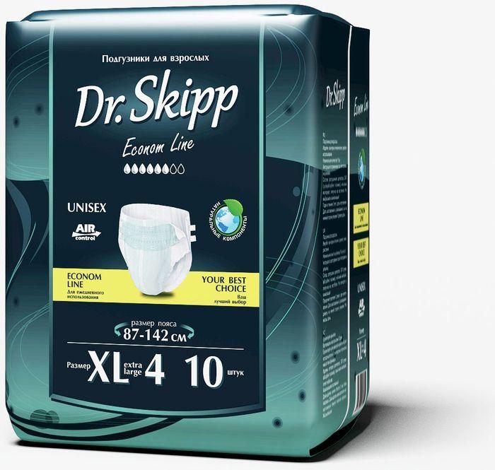 Dr. Skipp Подгузники для взрослых Econom Line размер XL-4 10 шт7038Подгузники для взрослых Dr.Skipp Econom Line, отличаются удобной иэкономичной упаковкой, они сделаны с целью, обеспечить надежную защиту икомфорт людям со средней или высокой степенью недержания, а такжеимеющим трудности с передвижением или посещением туалета. • Комфортно прилегают к телу за счет расширенного эластичного пояса. • Надежно удерживают влагу внутри благодаря дополнительной резинке дляприлегания защитного барьера к ногам. • Понятный и точный индикатор наполнения. • Приятный и естественный внешний вид подгузника на теле. • Удобная эргономичная упаковка. • Выгодно для кошелька – сочетание низкой цены и количества подгузников вупаковке делают приобретение подгузников Dr.Skipp выгодным для семейногобюджета. Обхват пояса: 87-142 см.