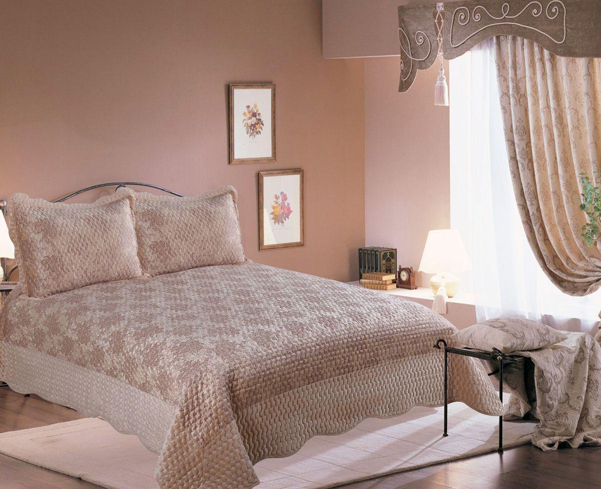 Комплект для спальни Amore Mio Turin: покрывало 220 х 240 см, наволочка,77123Покрывала AmoreMio из флок-сатина - классическое решение для интерьера. Молочно-бежевая цветовая гамма придаст уюта и спокойствия Вашей спальне. Покрывала отлично стираются в стиральной машине, на них приятно лежать, они практически не мнутся сохраняют свежий опрятный вид долгое время.