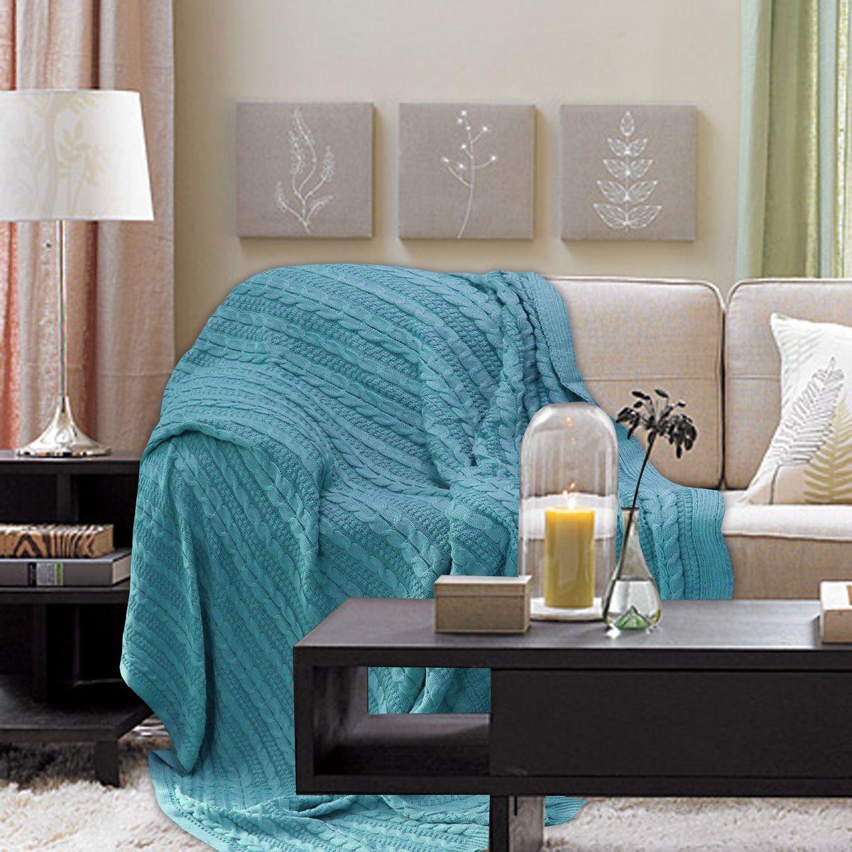 Плед Buenas Noches, цвет: бирюзовый, 180 х 210 см. 7888378883Хлопковые пледы Buenas Noches - мяккие, яркие, современные. Украсят практически любой дом. Могут послужить отличным подарком.