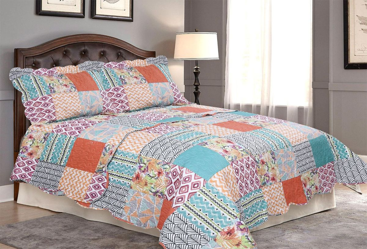 Комплект для спальни Amore Mio: покрывало 230 х 250 см, 2 наволочки. 8566485664Покрывала Pachwork Amore Mio - стеганые покрывала с печатным рисунком. Стильные, легкие, неприхотливые в уходе.