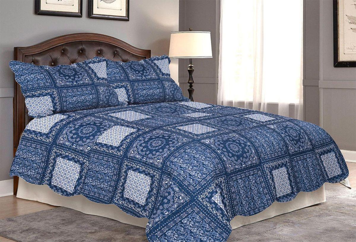 Комплект для спальни Amore Mio: покрывало 230 х 250 см, 2 наволочки. 8567185671Комплект для спальни Amore Mio состоит из покрывала и двух наволочек. Выполнен из 100% полиэстера и оформлен красочным рисунком. Очень нежный и приятный на ощупь, дышащий, поскольку очень хорошо пропускает воздух, не электризуется, сохраняет свой внешний вид в течение долгого времени, устойчив к загрязнениям. Внутренний наполнитель - синтепон. Покрывало оформлено фигурной стежкой, которая надежно удерживает наполнитель внутри и не позволяет ему скатываться. Комплект для спальни Amore Mio гармонично впишется в интерьер вашего дома и создаст атмосферу уюта и комфорта. Комплект очень практичен и неприхотлив в уходе. Можно стирать в машинке при температуре 40°С.