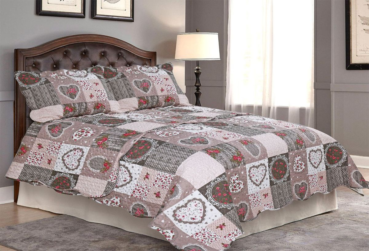 Комплект для спальни Amore Mio: покрывало 230 х 250 см, 2 наволочки. 8568285682Покрывала Pachwork Amore Mio - стеганые покрывала с печатным рисунком. Стильные, легкие, неприхотливые в уходе.