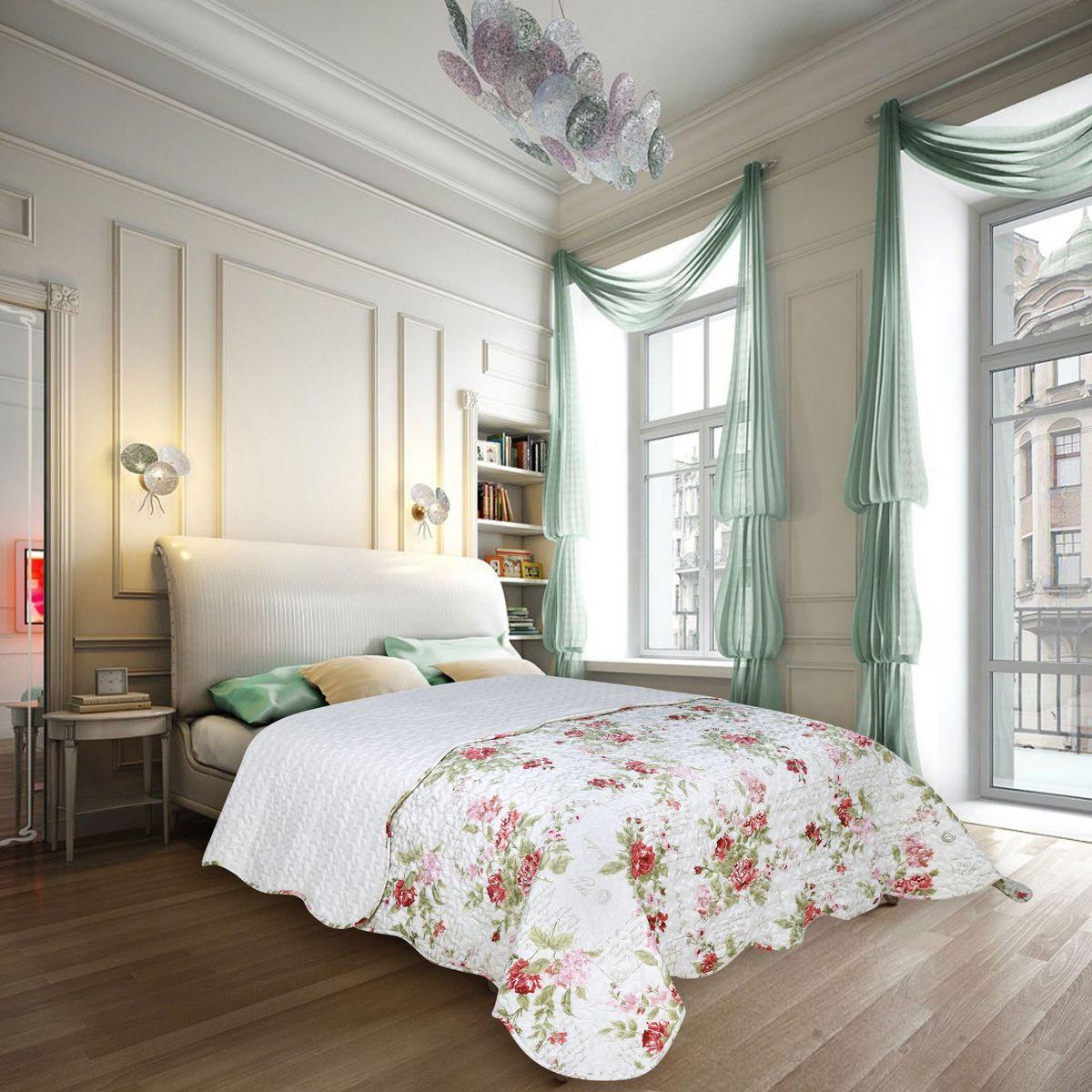 Покрывало Amore Mio Voyage, 220 х 240 см85831Покрывало Amore Mio в стиле Прованс, элегантные цветы на белом фоне, украсит любую спальню.
