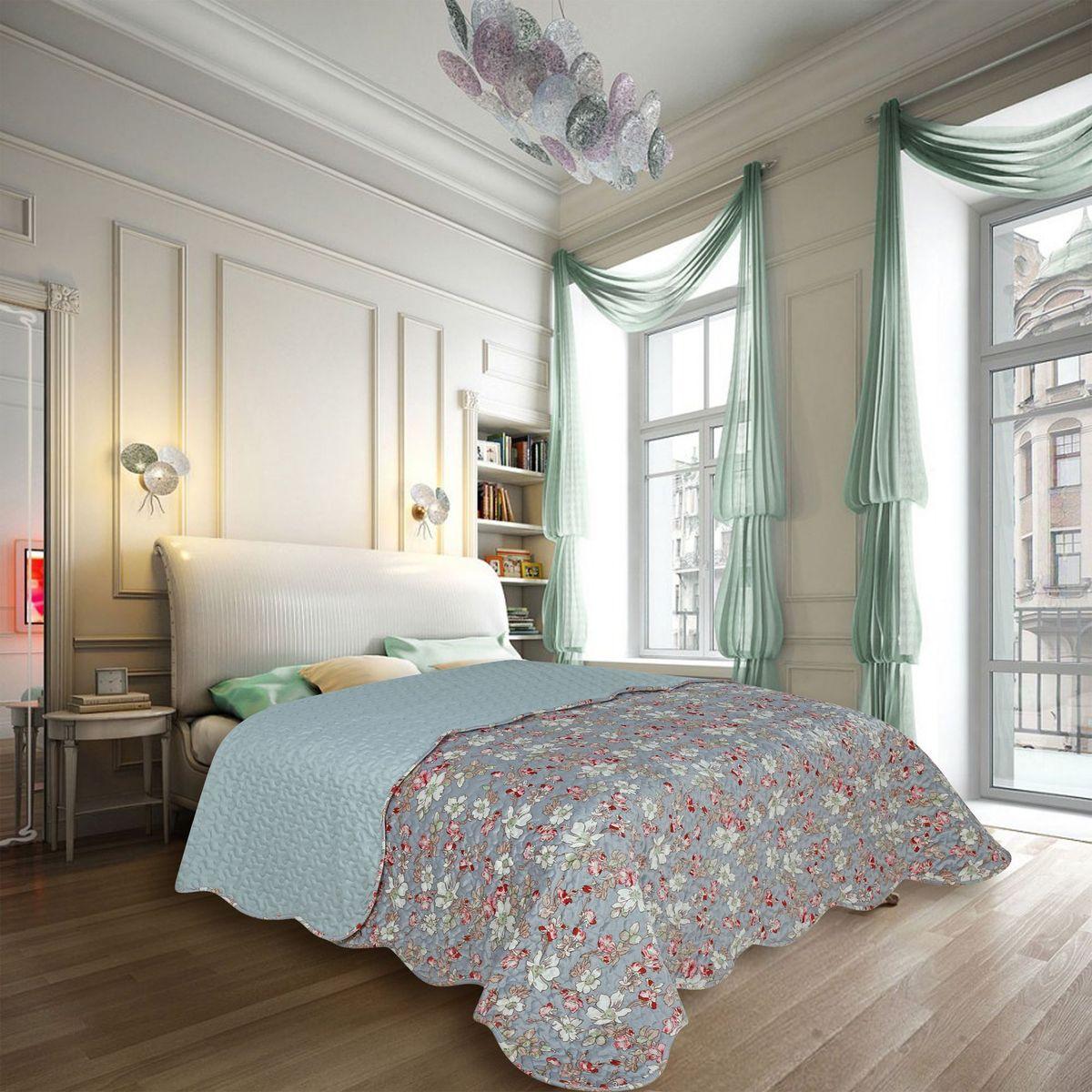 """Покрывало Amore Mio """"Decor"""" выполнено в в элегантном городском стиле, изысканные цветы на фоне тального серого орнамента, украсит любую спальню."""