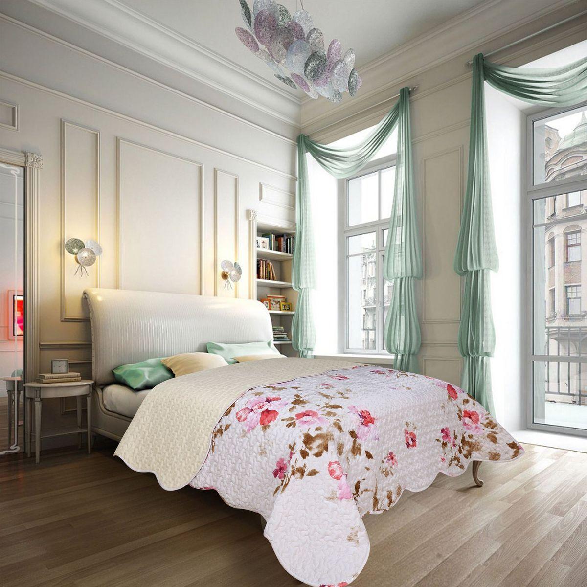 Покрывало Amore Mio Nice, 220 х 240 см85835Покрывало Amore Mio в стиле Прованс, элегантные цветы на белом фоне, украсит любую спальню.