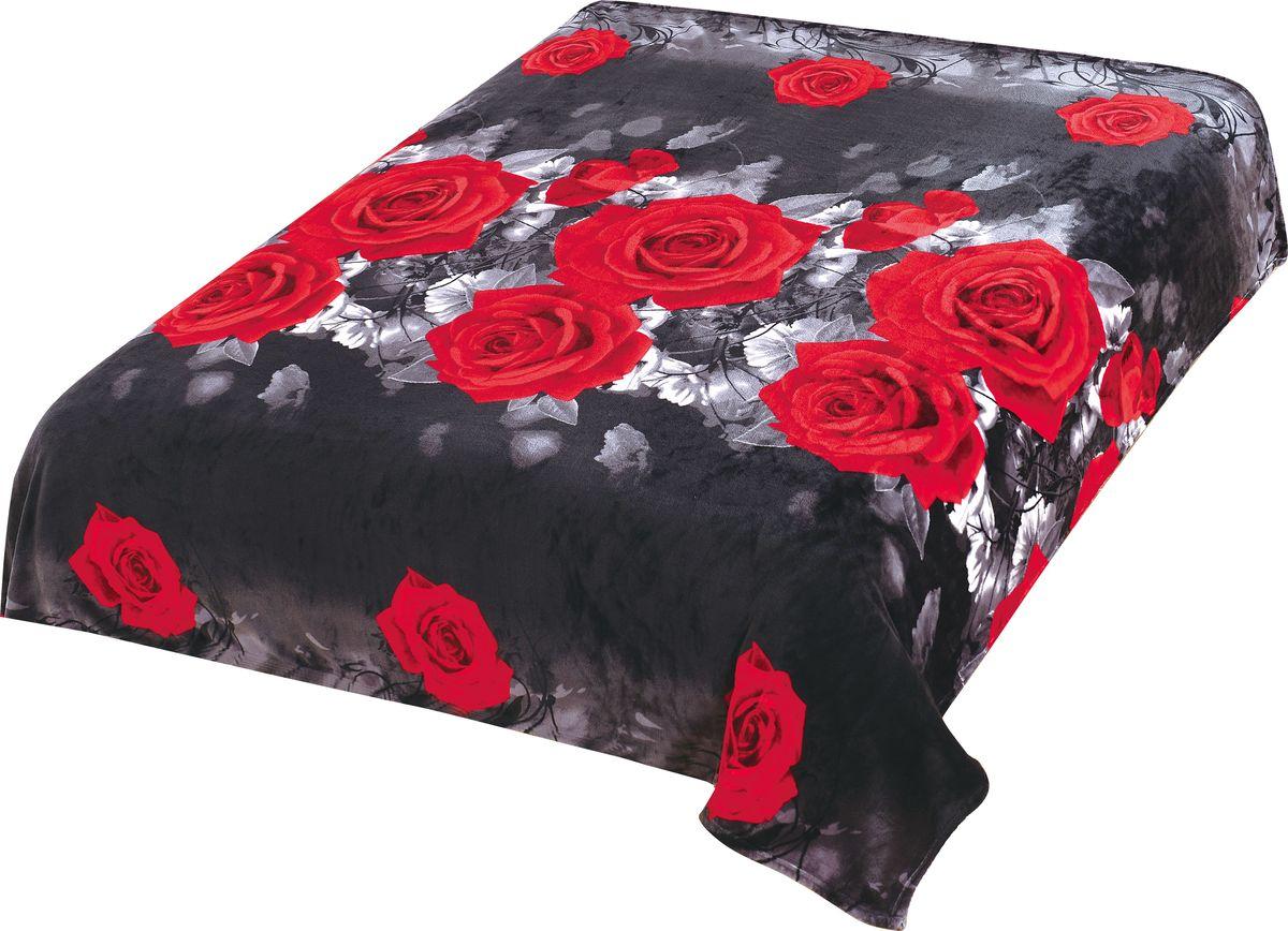 Плед TexRepublic Absolute Flanel. Розы, цвет: черный, 200 х 220 см. 86572 пледы и покрывала absolute плед caroline цвет голубой 150х200 см