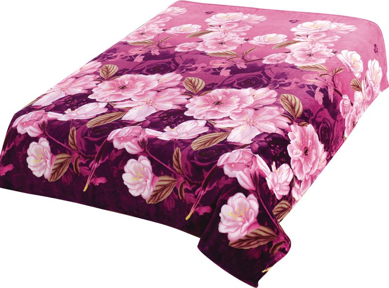 Плед TexRepublic Absolute Flanel. Розы, цвет: фиолетовый, 180 х 220 см. 88104