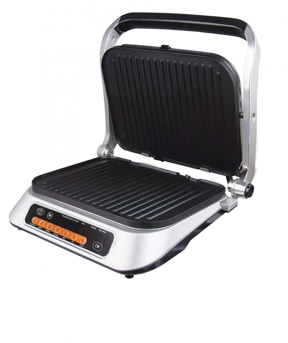 Gemlux GL-CG871N пресс-грильGL-CG871NПресс-гриль Gemlux GL-CG871N предназначен для домашней кухни и имеет 7 режимов работы (замороженные продукты, бекон, цыпленок, колбаски, стейки, рыба, бургеры), в которых время жарки регулируется автоматически в зависимости от толщины продукта, и ручной (пользовательский) режим, в котором время жарки не ограничено.Пресс-гриль снабжен двумя съемными жарочными поверхностями размером 310х245 мм из алюминия с антипригарным покрытием. Поверхности имеют рифление для более щадящей жарки и создания на поверхности обжариваемых продуктов характерного полосатого рисунка. Гриль может использоваться и как прижимной, и в режиме барбекю - для этого его нужно раскрыть на 180 градусов.