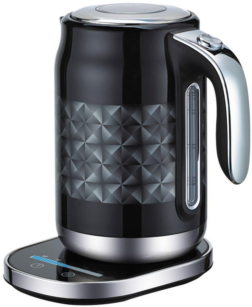 Gemlux GL-EK-771B электрический чайникGL-EK-771BЭлектрический чайник Gemlux GL-EK-771B - настоящее чудо современной бытовой техники. Он имеет элегантный дизайн черный бриллиант, который украсит вашу кухню, и удобную подставку с сенсорным управлением. Вместительная колба объемом 1,7 л со съемным сетчатым фильтром идеально подходит для семьи из трех-четырех человек.Устройство изготовлено из прочной и безопасной для здоровья нержавеющей стали, термоизолированная ручка - из черного пластика с накладкой из нержавеющей стали. Уровень воды в колбе легко контролировать благодаря мерному стеклу. Мощный закрытый нагревательный элемент обеспечивает быстрое закипание воды, легко очищается от накипи и имеет длительный срок службы.Электрочайник Gemlux GL-EK-771B оснащен терморегулятором, который позволяет максимально раскрывать вкус и аромат различных сортов чая, причем в процессе работы шкала терморегулятора показывает, до какой температуры нагрелась вода в данный конкретный момент времени. Предусмотрена также функция поддержания температуры в течение 30 минут.В целях безопасности чайник оснащен защитой от сухого включения, а крышка снабжена замком, который открывается кнопкой, расположенной в верхней части ручки.