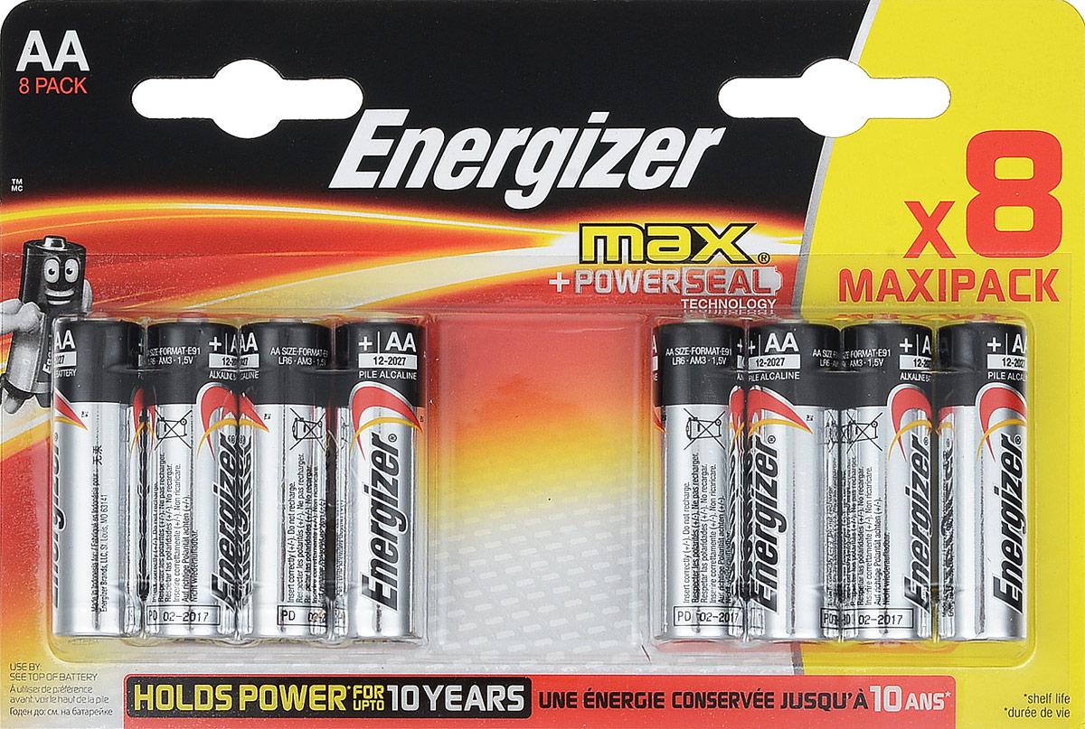 Батарейка Energizer Max, тип АА/LR6, 1,5 V, 8 штE300112400Батарейка Energizer Max - безотказный источник энергии для устройств повседневного пользования. Чаще всего применяется в пультах управления, небольших фонарях, часах, радио. Это первая в мире щелочная батарейка без ртути. Работает до 45% дольше, держит заряд до 10 лет. Стандартные щелочные батарейки Energizer защищены от протеканий.Уважаемые клиенты! Обращаем ваше внимание на то, что упаковка может иметь несколько видов дизайна. Поставка осуществляется в зависимости от наличия на складе.
