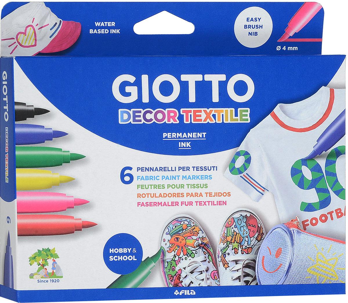 Giotto Фломастеры Decor Textile, для декорирования ткани, 6 цветов494800Фломастеры Giotto Decor Textile предназначены для декорирования по ткани. Нужно просто нарисовать необходимый вам узор на ткани и для закрепления перманентного эффекта обязательно пройтись поверх рисунка горячим утюгом без пара. Чернила фломастеров созданы на водной основе и не имеют запаха.В комплекте шесть фломастеров черного, синего, зеленого, желтого, розового и красного цветов.Уважаемые клиенты! Обращаем ваше внимание на то, что упаковка может иметь несколько видов дизайна. Поставка осуществляется в зависимости от наличия на складе.