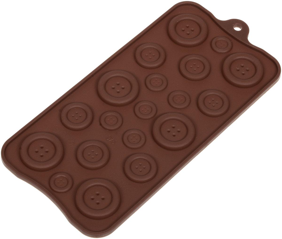 Форма для льда и шоколада Доляна Пуговки, 19 ячеек, 22 х 10,5 см1210652Силикон не теряет эластичности при отрицательных температурах (до - 40?С), поэтому, готовые льдинки легко достаются из формы и не крошатся. Лед получается идеальной формы. С силиконовыми формами для льда легко фантазировать и придумывать новые рецепты. В формах можно заморозить сок или приготовить мини порции мороженого, желе, шоколада или другого десерта. Особенно эффектно выглядят льдинки с замороженными внутри ягодами или дольками фруктов. Заморозив настой из трав, можно использовать его в косметологических целях.