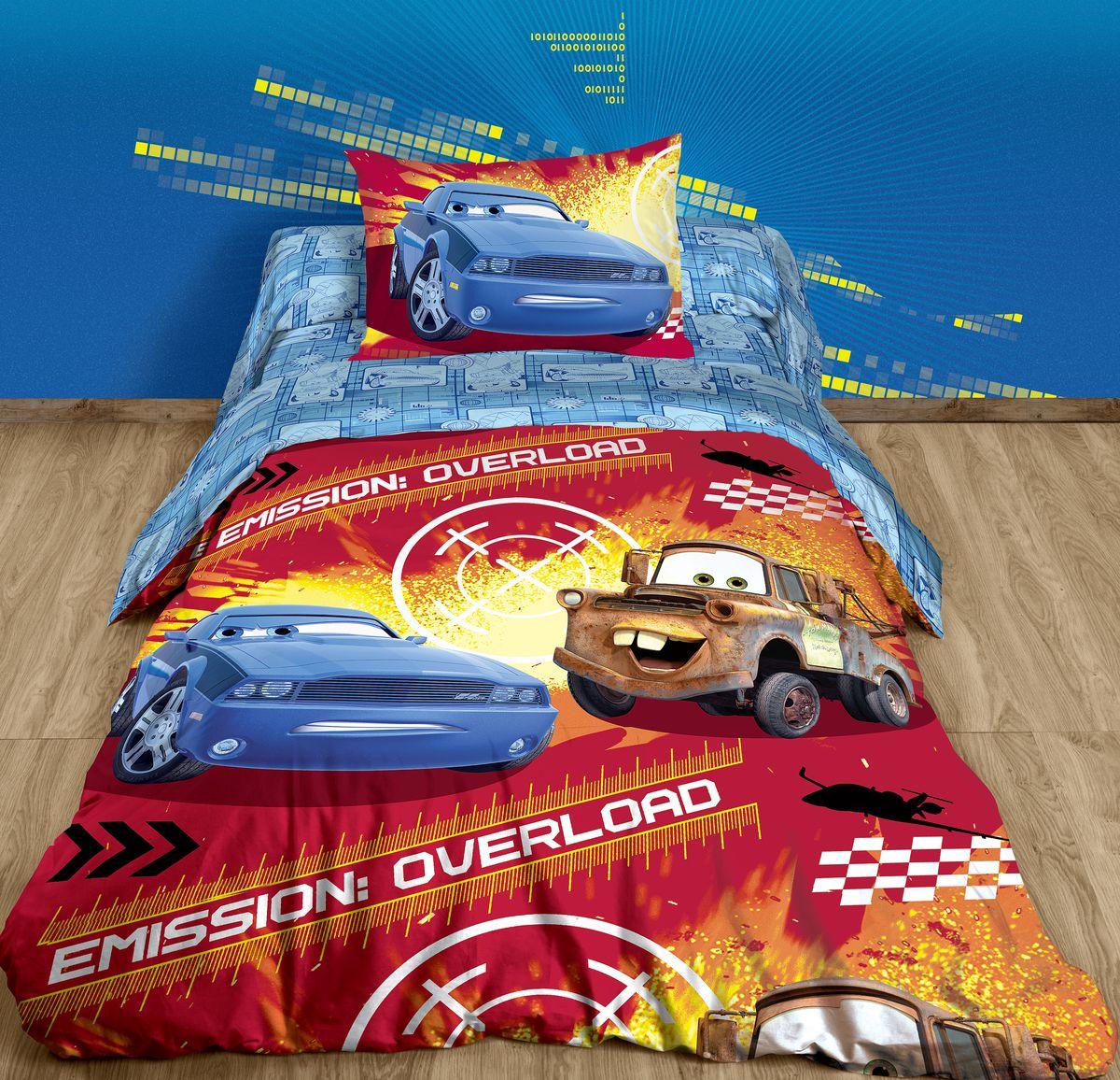 Комплект постельного белья Disney, 1,5-спальный, наволочка 50х70, цвет: красный + ПОДАРОК: Наволочка Disney Тачки, 50 х 70 см7183531 простынь 1480х2150мм,1 пододеяльник 1480х2100мм, 1 наволочка 500х700мм + Подарок 1 наволочка 500х700мм