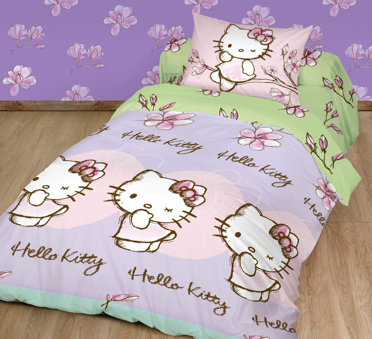 Комплект постельного белья Hello Kitty, 1,5-спальный, наволочка 70х70, цвет: сиреневый + ПОДАРОК: Наволочка Hello Kitty, 70 х 70 см718356Детский комплект постельного белья Hello Kitty состоит из 2 наволочек, пододеяльника и простыни. Такой комплект идеально подойдет для кровати вашего ребенка и обеспечит ему здоровый сон. Он изготовлен из ранфорса, дарящего малышу непревзойденную мягкость. Натуральный материал не раздражает даже самую нежную и чувствительную кожу ребенка, обеспечивая ему наибольший комфорт. Приятный рисунок комплекта подарит вашему ребенку встречу с любимыми героями полюбившегося мультфильма и порадует яркостью и красочностью дизайна.