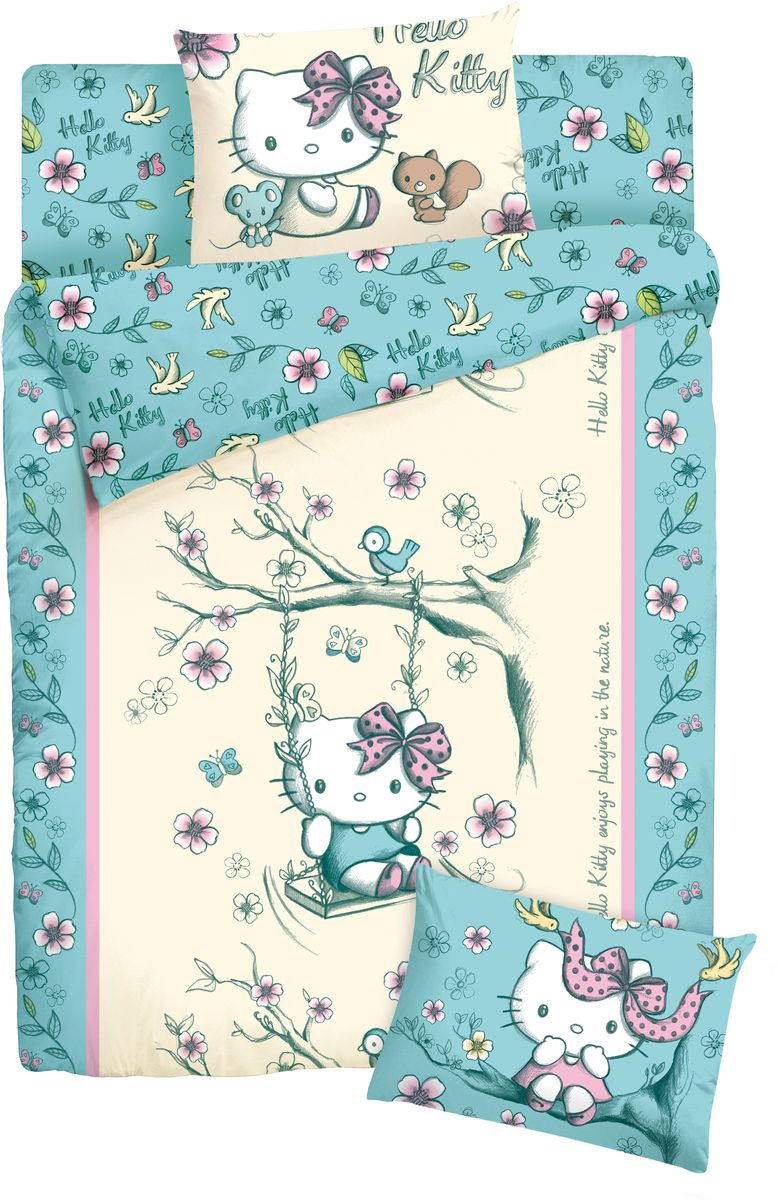 Комплект постельного белья Hello Kitty, 1,5-спальный, наволочка 70х70, цвет: желтый + ПОДАРОК: Наволочка Hello Kitty, 70 х 70 см718357Детский комплект постельного белья Hello Kitty состоит из 2 наволочек, пододеяльника и простыни. Такой комплект идеально подойдет для кровати вашего ребенка и обеспечит ему здоровый сон. Он изготовлен из ранфорса, дарящего малышу непревзойденную мягкость. Натуральный материал не раздражает даже самую нежную и чувствительную кожу ребенка, обеспечивая ему наибольший комфорт. Приятный рисунок комплекта подарит вашему ребенку встречу с любимыми героями полюбившегося мультфильма и порадует яркостью и красочностью дизайна.