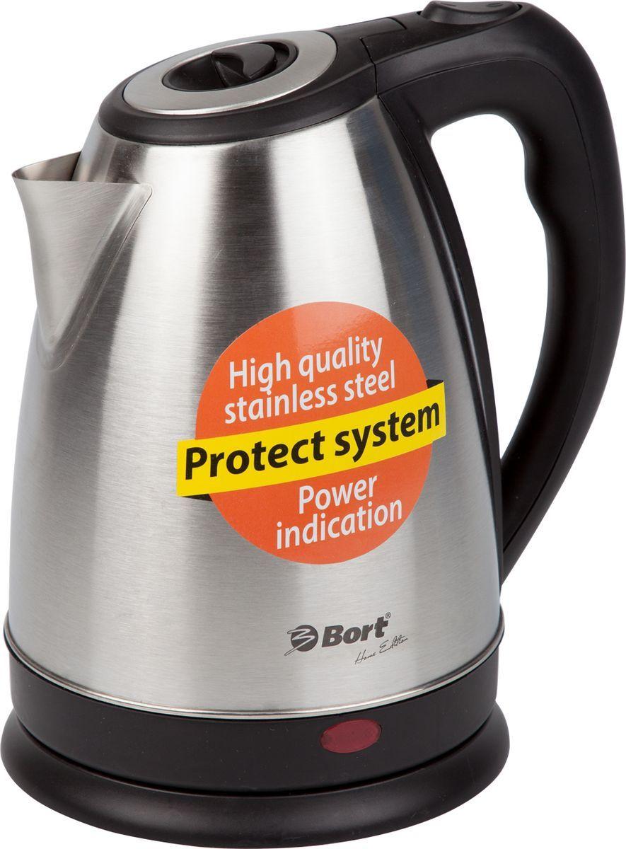 Bort BWK-2017M, Grey Metallic электрический чайник91276827Электрочайник Bort BWK-2017M-L в оригинальном металлическом исполнении станет гармоничным дополнением для кухни в минималистском стиле или стиле Hi-teck.Помимо необычного внешнего вида чайник обладает надежностью и удобством использования. Вода закипает очень быстро, так как мощность устройства составляет 2000 Вт.Чайник можно включать как максимально заполненным до отметки в 1.7 л, так и с количеством воды на одну чашку. Это возможно благодаря наличию скрытого нагревателя. Если же вода в чайнике будет отсутствовать, то его невозможно будет включить.Электрочайник оснащен системой автоматического отключения при закипании. Крышка чайника закрывается очень плотно, открывается только с помощью нажатия на кнопку, расположенную на ручке чайника. Таким образом, обеспечивается безопасность во время кипячения воды. Избавить вскипяченную воду от частиц накипи при наливании в чашки позволяет фильтр в носике чайника.Сетевой шнур при необходимости убирается в отсек на подставке.