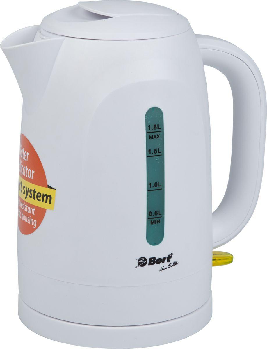 Bort BWK-2218P, White электрический чайник91276926Электрический чайник Bort BWK-2218P изготовлен из пищевого пластика, устойчивого к воздействию высоких температур.Высокая мощность закрытого нагревательного элемента 2200 Вт позволит быстро вскипятить воду.Широко открывающаяся крышка, легкоснимаемый мелкий фильтр - все это для удобства пользования и чистки чайника.Беспроводное соединение позволяет вращать чайник на подставке на 360°.
