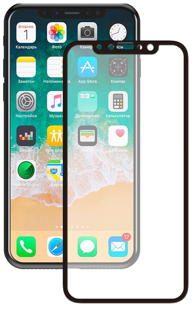 Deppa 3D защитное стекло для Apple iPhone X, Black62393Защитное стекло Deppa 3D для Apple iPhone X, обеспечивает надежную защиту сенсорного экрана устройства от большинства механических повреждений и сохраняет первоначальный вид дисплея, его цветопередачу и управляемость. В случае падения стекло амортизирует удар, позволяя сохранить экран целым и избежать дорогостоящего ремонта. Стекло обладает особой структурой, которая держится на экране без клея и сохраняет его чистым после удаления.