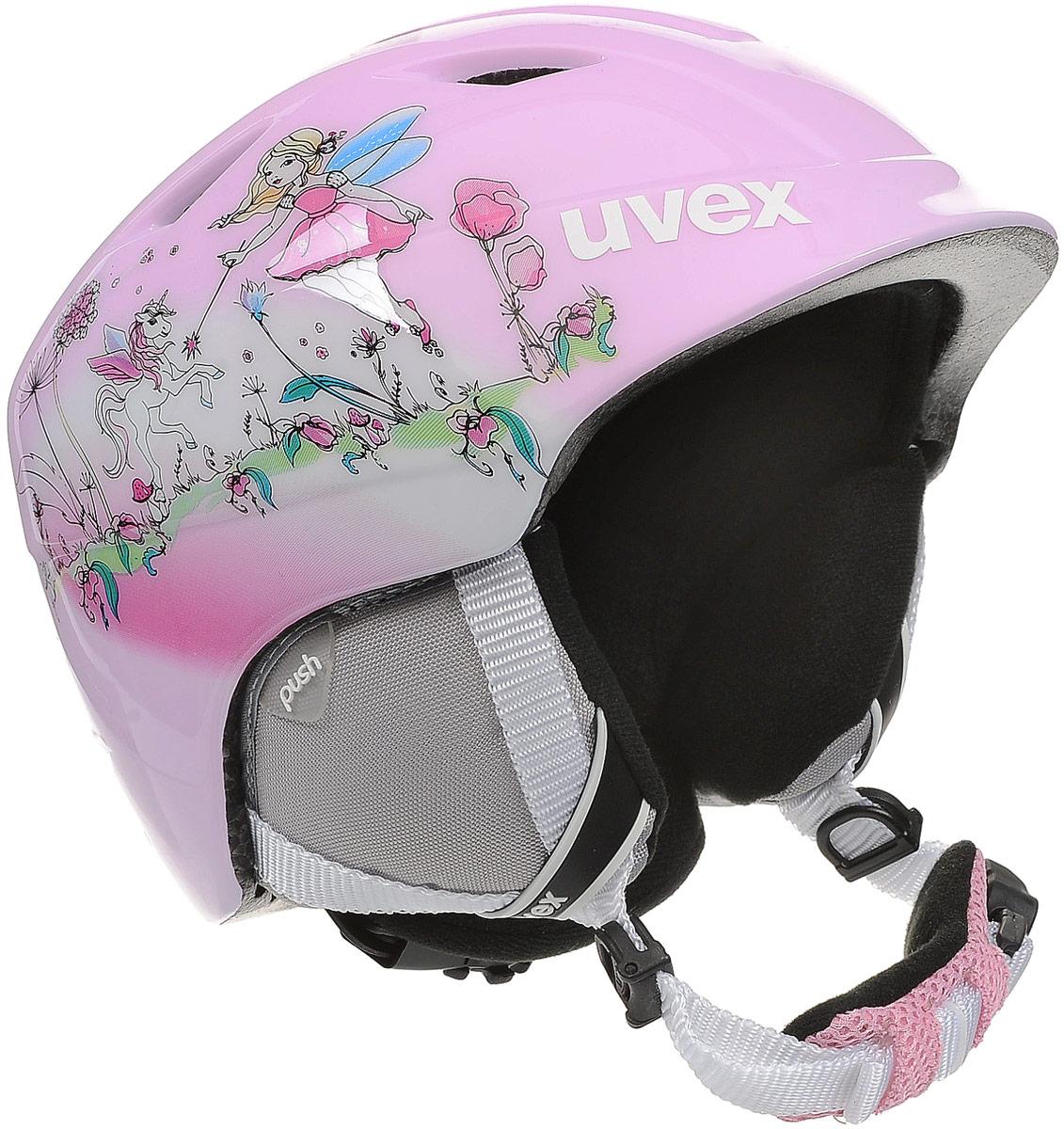 Шлем горнолыжный детский Uvex Airwing 2 Kids Helmet, фея. Размер XXS6132Детский шлем Uvex Airwing 2 обеспечит юному лыжнику максимальный комфорт на склоне. В модели предусмотрены система вентиляции, съемная защита ушей и фиксатор стрэпа маски. Система индивидуальной подгонки размера IAS и застежка Monomatic позволят надежно закрепить шлем на голове. Подкладка выполнена из гипоаллергенного материала.Размер шлема: XXS (46-50 см).Как выбрать горные лыжи для ребёнка. Статья OZON Гид