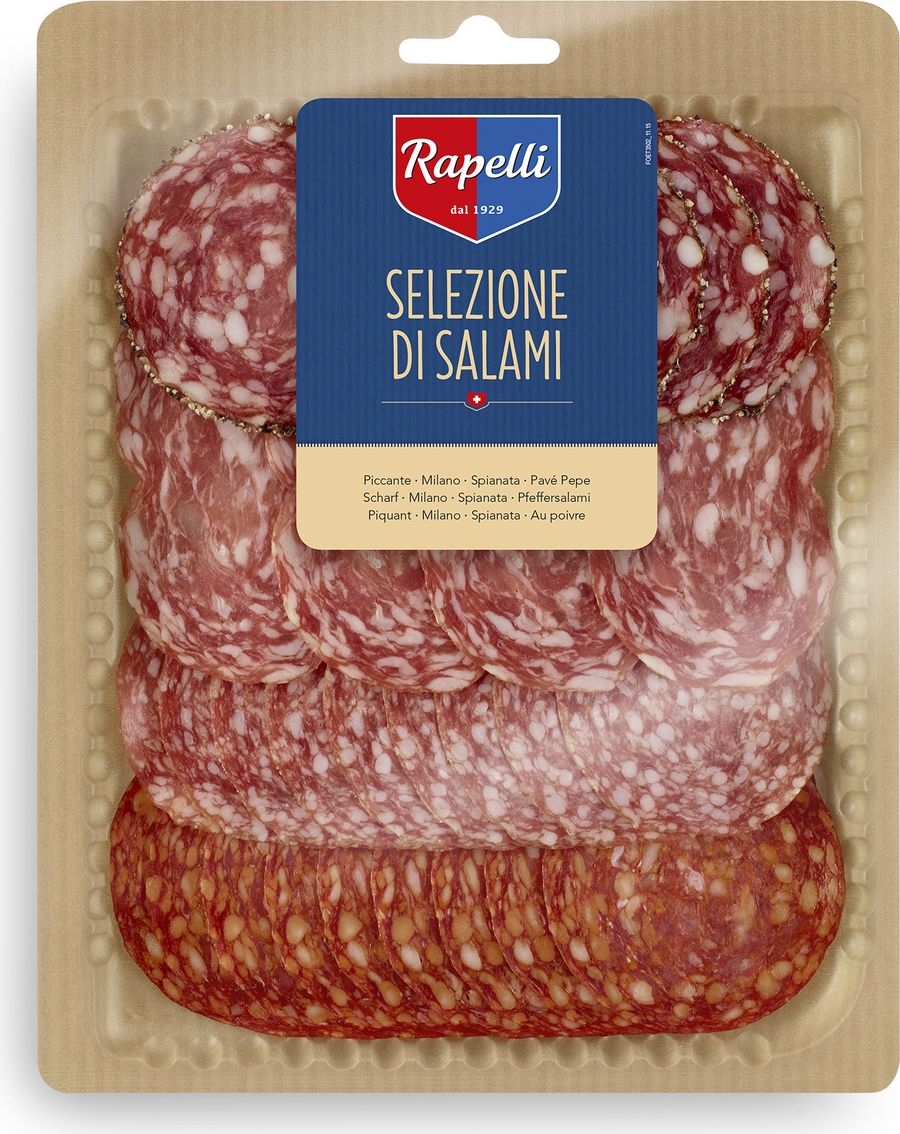 Rapelli Салями ассорти, 125 г14000Все салями произведены в соответствии с рецептурой, разработанной создателем компании – Марио Рапелли в 1929 году. 100% швейцарский продукт. Не содержит аллергенов. Не содержит глутамат натрия.