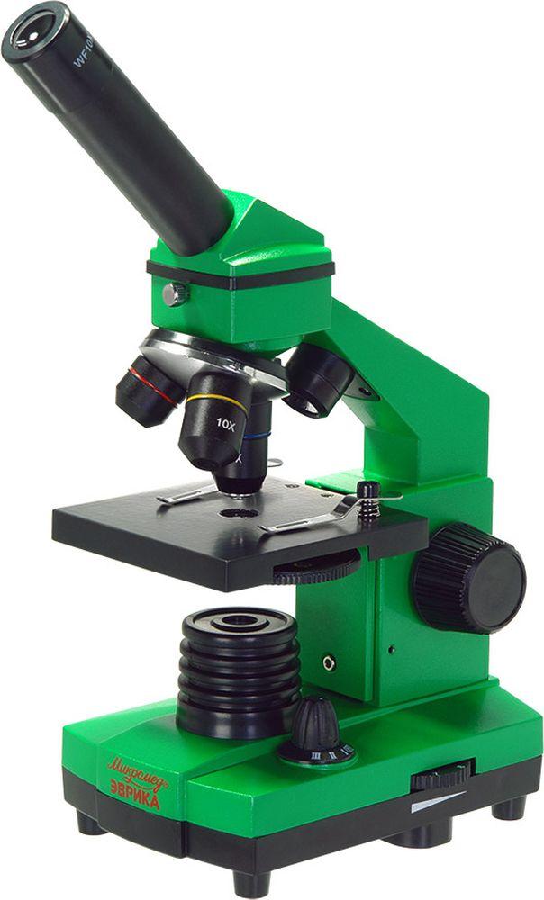 Micromed Эврика, Lime микроскоп25447Микроскоп школьный Эврика 40х-400х может быть использован для проведения учебных и лабораторных работ в области биологии в школах, лицеях, дошкольных учебных заведениях, а также в домашних условиях. Отличительные особенности серии - яркий дизайн, качественная стеклянная оптика, эргономичный металлический корпус и двойная светодиодная подсветка.С яркими микроскопами Эврика исследование окружающего мира становится действительно увлекательным - даже у себя дома, среди домашних растений или на кухне можно найти удивительные и загадочные объекты. Юные исследователи откроют для себя много нового и неизвестного, получат ответы на интересующие их вопросы.Многослойное просветляющее покрытие на оптических элементах обеспечивает качественное резкое и контрастное изображение. Три объектива с увеличением 4, 10, 40 крат и окуляр 10 крат позволят получить изображение объекта с увеличением от 40 до 400 крат.Прочный металлический корпус с устойчивым основанием обеспечивает максимальное удобство и эффективность работы даже в поездке.Микроскоп оснащен двумя встроенными источниками отраженного и проходящего света, благодаря этому микроскоп подойдет для наблюдения прозрачных, непрозрачных и полупрозрачных объектов. Такие возможности увеличат кругозор юного исследователя – микроскоп подойдет для изучения биологических объектов в виде мазков и срезов, а при работе с объективами 4х и 10х можно изучать непрозрачные плоские объекты.Источники света работают от 3 батареек типа АА или от сети переменного тока 220В с помощью адаптера (батарейки и адаптер не входят в комплект). Универсальность питания осветительной системы позволяет использовать микроскоп и в домашних условиях, и в учебных классах, и в походных условиях.Для выведения изображения на экран ПК, просмотра и работы с файлами можно использовать камеру-видеоокуляр (приобретается отдельно).Весь комплект оборудования упакован в жесткий пластиковый кейс с удобной ручкой – это позволит взять микроскоп с с