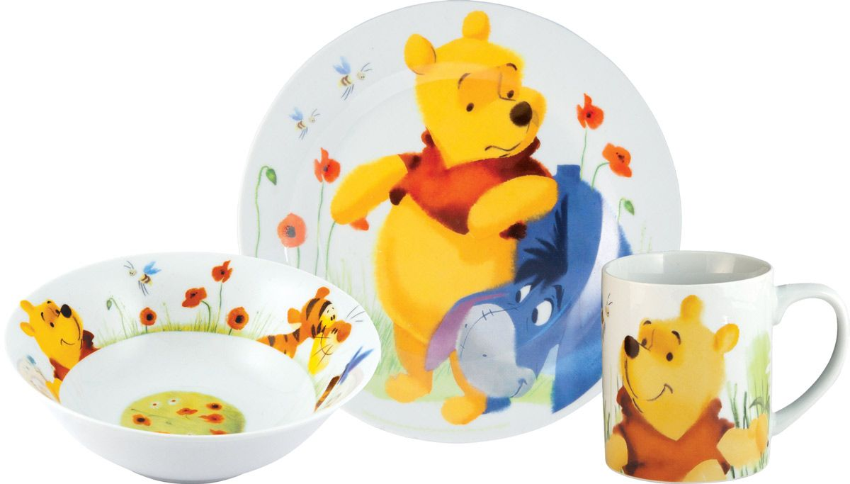 Stor Набор посуды для кормления Винни Пух 3 предмета70240Оригинальная керамическая посуда с изображением любимых героев - прекрасный подарок для детей и взрослых. Можно использовать в СВЧ-печи и посудомоечной машине.