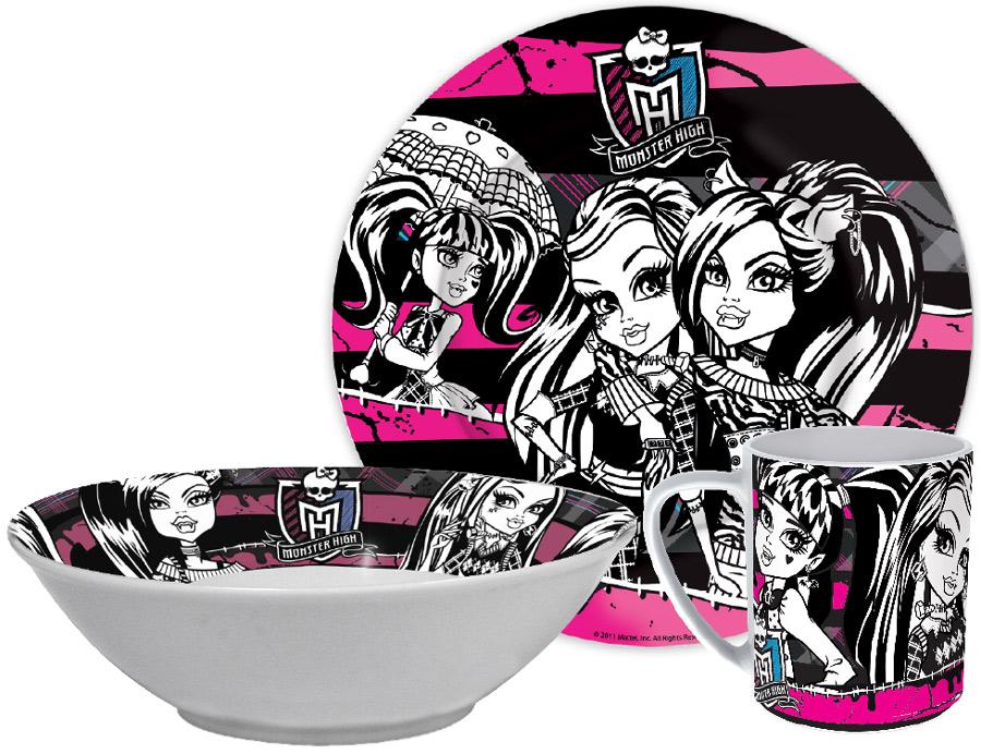 Stor Набор посуды для кормления Monster High 3 предмета71400Оригинальная керамическая посуда с изображением любимых героев - прекрасный подарок для детей и взрослых. Можно использовать в СВЧ-печи и посудомоечной машине.