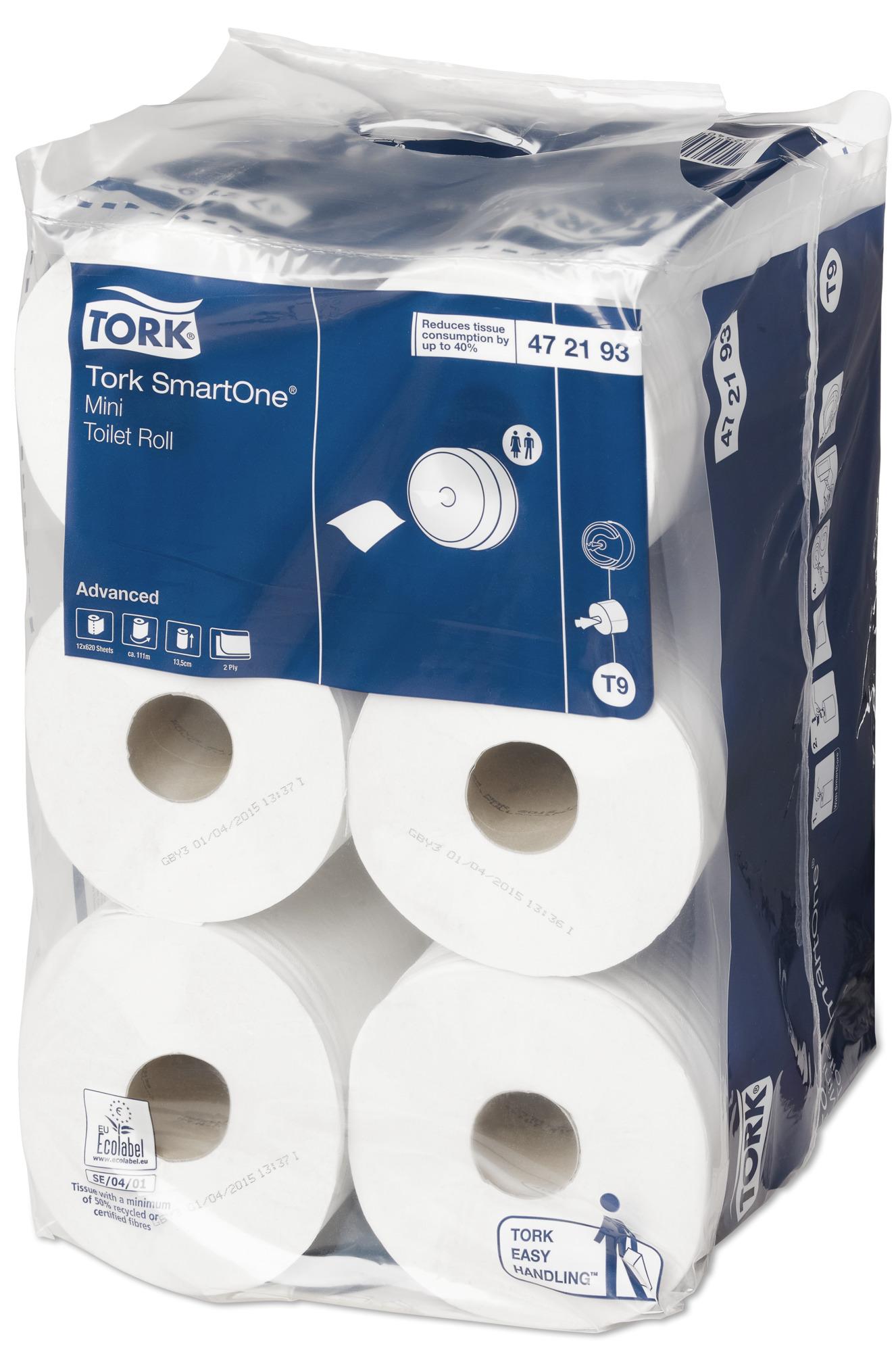 Бумага туалетная Tork SmartOne, двухслойная, 12 мини-рулонов472193Tork SmartOne® - уникальная система, обеспечивающая гигиеничный полистовой отбор и до 40% экономии по сравнению с традиционными большими рулонами. Мини-рулоны Tork SmartOne® высокой емкости подходят для туалетных комнат с низкой и средней проходимостью. Бумага мгновенно растворяется в воде - риск засорения канализации сведен к минимуму. Мягкая белая бумага комфортна в использовании. Легко вынимаемая втулка SmartCore® гарантирует быструю и простую перезаправку.