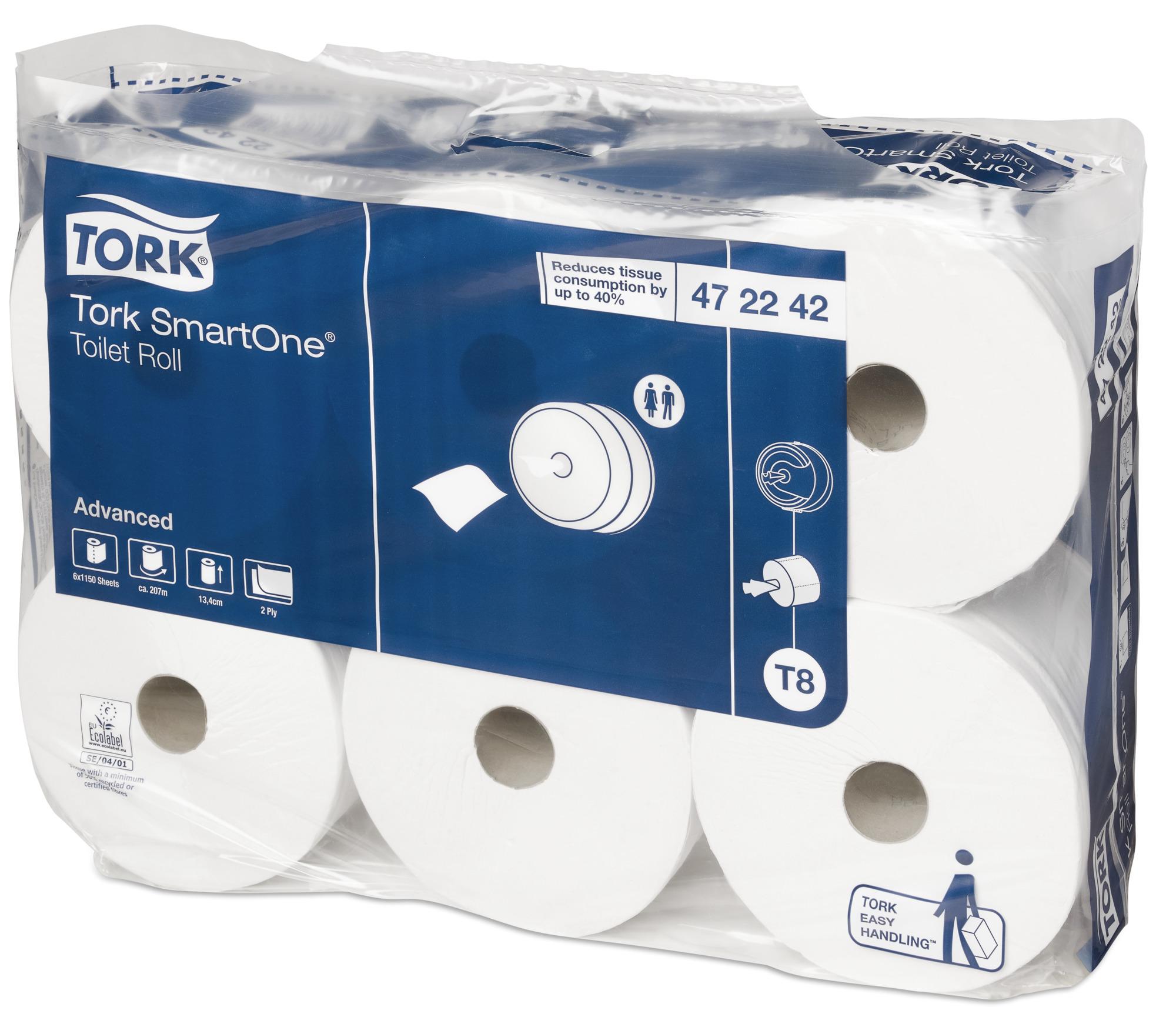 Бумага туалетная для держателя Tork SmartOne, двухслойная, 6 рулонов472242Tork SmartOne® - уникальная система, обеспечивающая гигиеничный полистовой отбор и до 40% экономии по сравнению с традиционными большими рулонами. Рулоны Tork SmartOne® высокой емкости подходят для туалетных комнат с высокой проходимостью.Бумага мгновенно растворяется в воде - риск засорения канализации сведен к минимуму. Мягкая белая бумага комфортна в использовании.Легко вынимаемая втулка SmartCore® гарантирует быструю и простую перезаправку.
