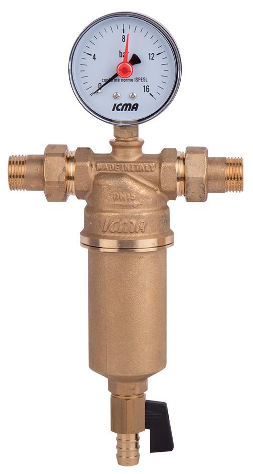 Фильтр самопромывной ICMA, с манометром, американка, 1/2ИС.110331Муфтовый самопромывной фильтр для воды ICMA снабжен наружной резьбой. При необходимости к муфтам подключается счетчик воды. Съемный фильтрующий картридж выполнен из нержавеющей стали 100 микрон. Поставляется в комплекте с манометром и сливным краном для подключения к канализации.Максимальное рабочее давление: 25 бар.Максимальная рабочая температура: 90°C.Фильтрующий картридж для замены арт. 752.Размер: 1/2.