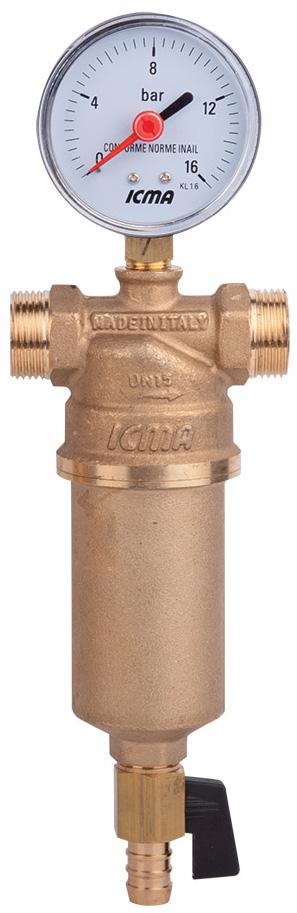Фильтр самопромывной ICMA, с манометром, 3/4 х 183750AE05Самопромывной фильтр для воды ICMA имеет двойную резьбу: внутренняя-внутренняя и наружная-наружная. Съемный фильтрующий картридж выполнен из нержавеющей стали 100 микрон. Поставляется с манометром и сливным краном для подключения к канализации. Максимальное рабочее давление: 25 бар. Максимальная рабочая температура: 90°C. Размеры: 1 1/2 и 2 только с внутренней резьбой. Фильтрующий картридж для замены арт. 752. Размеры внутренняя резьба: 3/4. Размеры наружная резьба: 1.