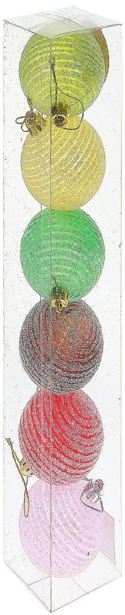 Набор новогодних подвесных украшений Sima-land Волшебство. Полоски, блеск, диаметр 6 см, 6 шт набор новогодних подвесных украшений sima land диаметр 10 см 6 шт 2137195