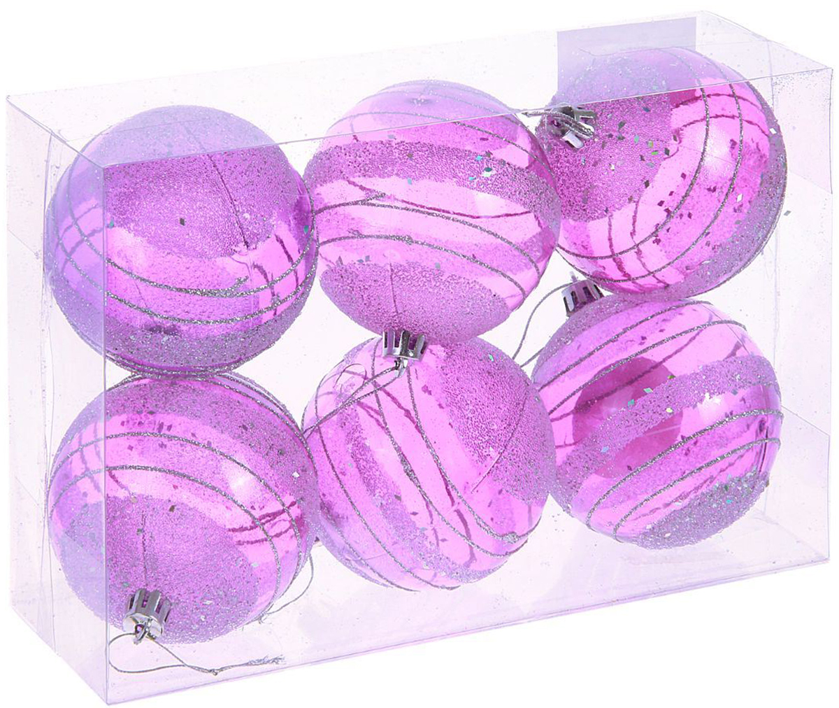 Набор новогодних подвесных украшений Sima-land, диаметр 8 см, 6 шт. 1009389 sima land антистрессовая игрушка заяц хрустик 05 цвет красный